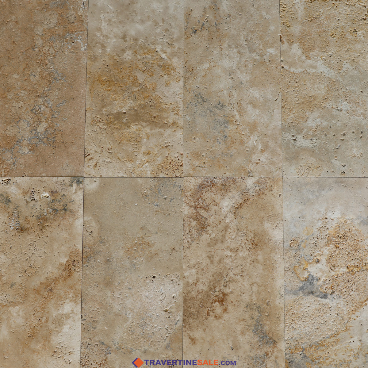 country classic travertine tiles with wet rusty beige look