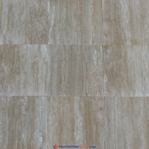 classic travertine filled and polished surface with beige background and dark beige veins