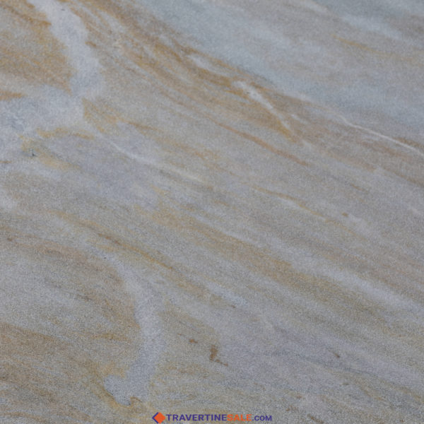40,6x61 sandblasted ice white gold marble paver surface with white background and gold veins