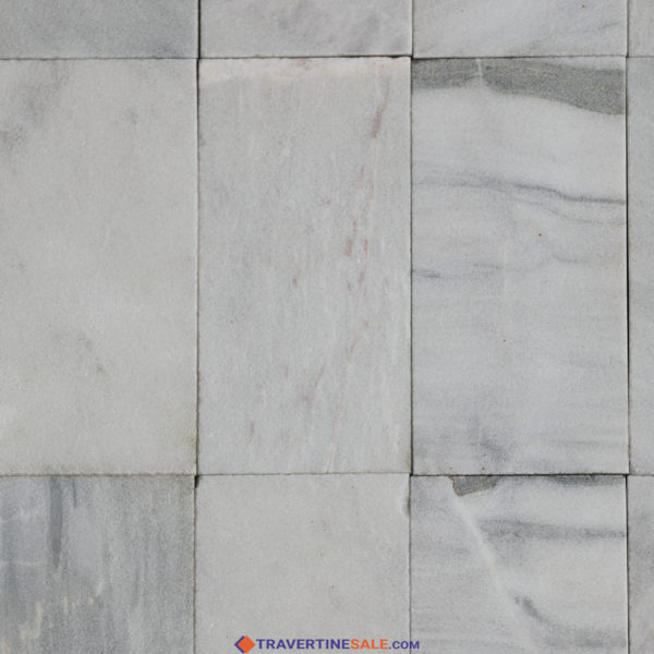 15x30 sandblasted ice white marble tiles with white background and gray veins