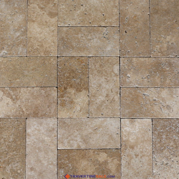 tumbled noche travertine paver surface with dark beige background wide